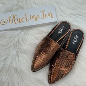 Shelly's London Cantara Embossed Mules NWOT